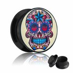 Picture Ear Plug - Screw - Skull - Colorful