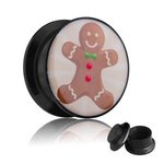 Picture Ear Plug - Screw - Gingerbread Man