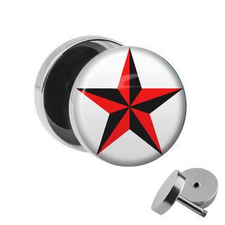 Picture Fake Plug - Star - Red-Black