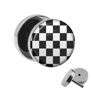 Picture Fake Plug - Chessboard - Black-White