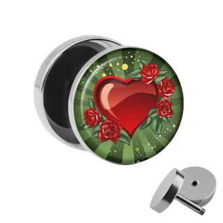 Picture Fake Plug - Heart & Roses