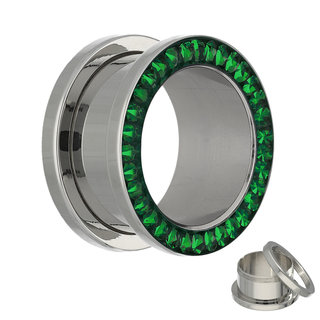Flesh Tunnel - Silver - Crystal - Green - Expoxy Cover