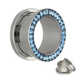 Flesh Tunnel - Silver - Crystal - Blue - Expoxy Cover