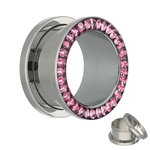 Flesh Tunnel - Silver - Crystal - Pink - Expoxy Cover