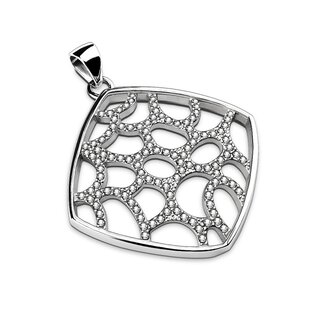 Pendant - Silver - Square - Mesh - Crystals