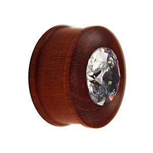 Wood Ear Plug - Crystal - Brown