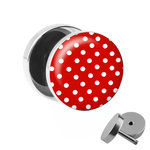 Picture Fake Plug - Polka Dots - Red