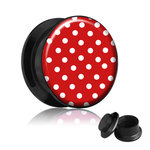 Picture Ear Plug - Screw - Polka Dots - Red