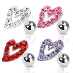 Barbell Piercing - Silver - Short - Heart