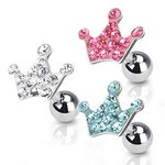 Barbell Piercing - Silver - Short - Crown