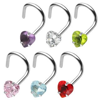 Nose Stud curved - Heart - Crystal