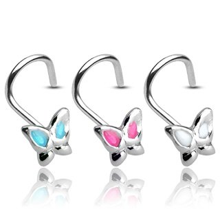 Nose Stud curved - Butterfly