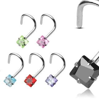 Nose Stud curved - Crystal - Square