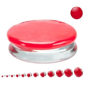 Glass Ear Plug - Divided - Red