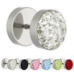 Piercing Fake Plug - Silver - Epoxy Cover - Crystal