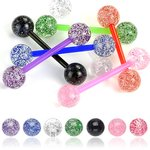 Barbell Piercing with Balls - Bioflex - Glitter