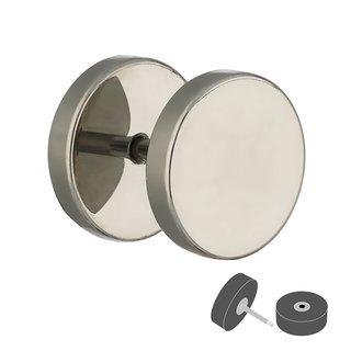 White acrylic fake Plug Stainless Surgical Steel shiny AB coated acrylic jewel 8mm