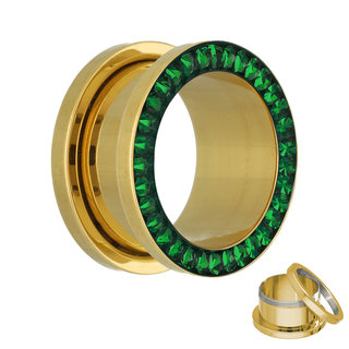 Flesh Tunnel - Gold - Crystal - Green - Epoxy Cover