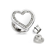 Ear Plug - Steel - Silver - Heart - Clear