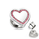 Ear Plug - Steel - Silver - Heart - Pink