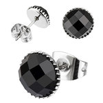 Ear Stud - Black - Crystal - Round