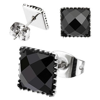 Ear Stud - Black - Crystal - Cornered