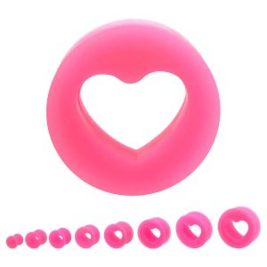 Silicone Ear Plug - Heart - Pink