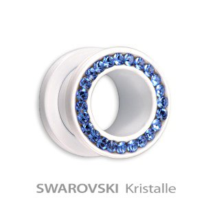 Supernova - Flesh Tunnel - Steel - White - Sapphire