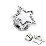 Ear Plug - Steel - Silver - Star - Clear