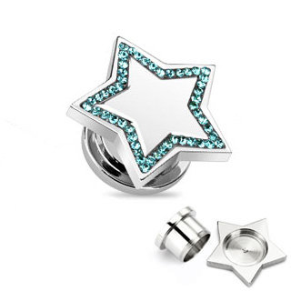 Ear Plug - Steel - Silver - Star - Blue
