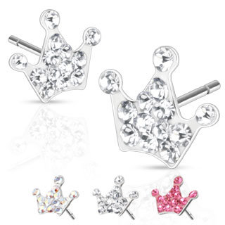 Ear Stud - Crown - Crystal
