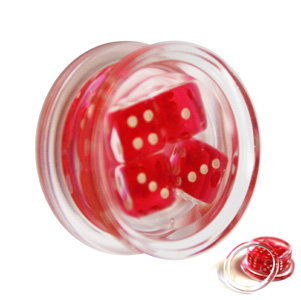 Ear Plug - Acrylic - Dices - Red