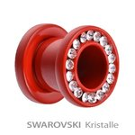 Supernova - Flesh Tunnel - Steel - Red - Crystal