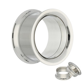 Double Flare Flesh Tunnel - Steel - Silver - Screw