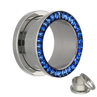 Flesh Tunnel - Silver - Crystal - Dark Blue - Expoxy Cover