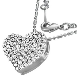 Necklace - Silver - Heart - Crystal - Clear