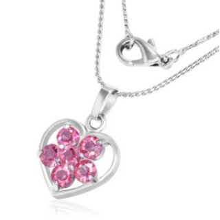 Necklace - Silver - Heart - Crystal - Flower