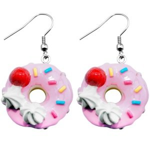 Dangle Earrings - Strawberry Donut