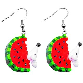 Dangle Earrings - Melon Slice with Mouse
