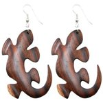 Dangle Earrings - Wood - Gecko
