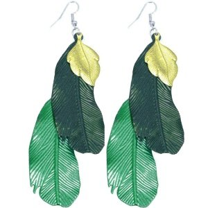 Dangle Earrings - Feather - Green