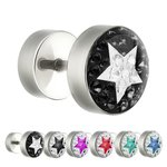 Fake Plug - Silver - Cover - Crystal - Star