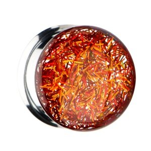 Ear Plug - Double Flare - Glitter - Gold - Orange