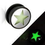 Picture Ear Plug - Glow in the dark - Silver - Star