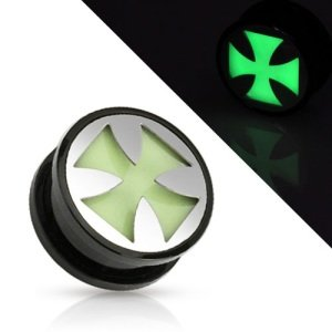 Picture Ear Plug - Glow in the dark - Silver - Celtic Cross