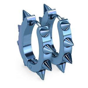 Green and blue spikes hoop earrings