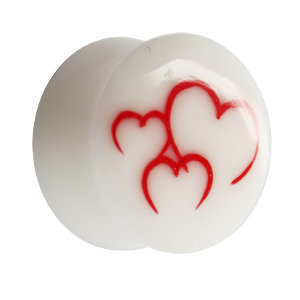 Ear Plug - Bone - Hearts - Red