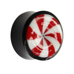 Ear Plug - Horn - Candy - Red-White