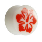 Ear Plug - Bone - Hibiscus - Red