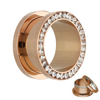 Flesh Tunnel - Rose Gold - Crystal - Clear - Epoxy Cover